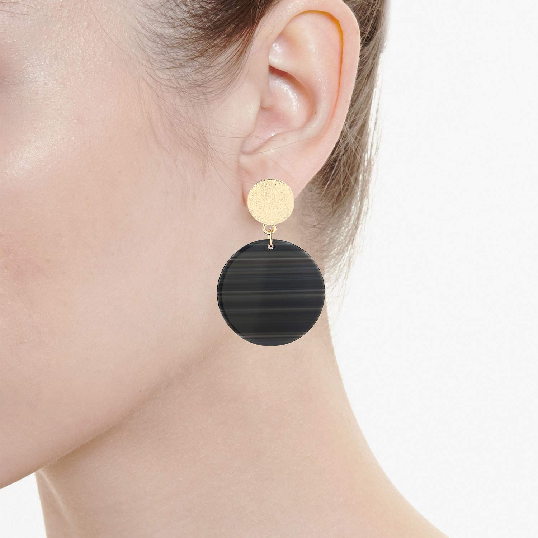 LEGITTA Resin Drop Earrings Round Gold Disc Combine Stripe Acetate Dangle Fashion Jewelry for Women Girls