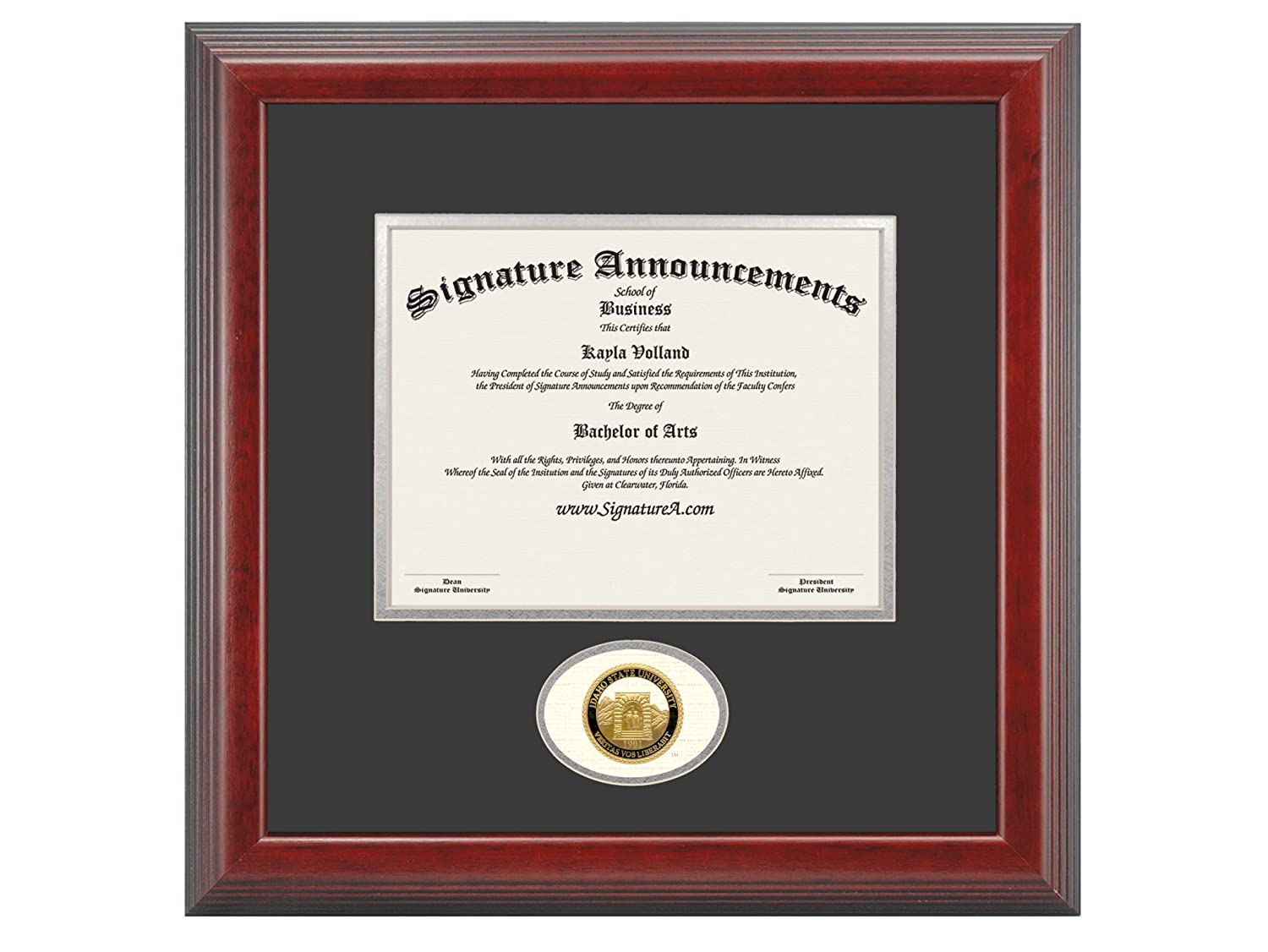 Professional//Doctor Sculpted Foil Seal Graduation Diploma Frame 16 x 16 Cherry Signature Announcements Idaho-State-University Undergraduate