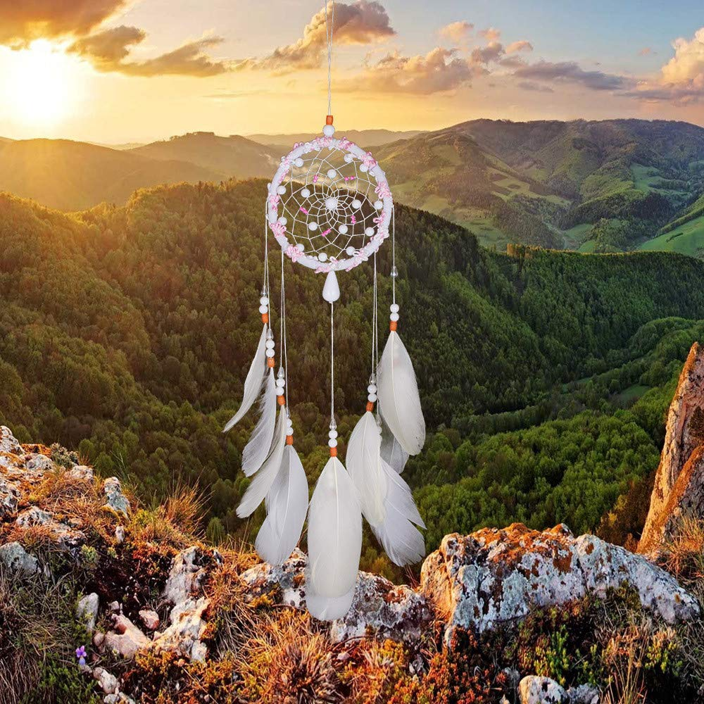 Tuscom White Handmade Feather Colorful Pearl Dream Catcher |for Car Wall Hanging Room Home Decor (11x53cm) (White) by Tuscom@ (Image #3)