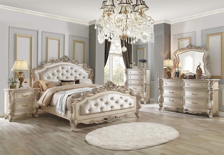 Amazon.com: 4Pc Bedroom Furniture Set Antique White Finish ...