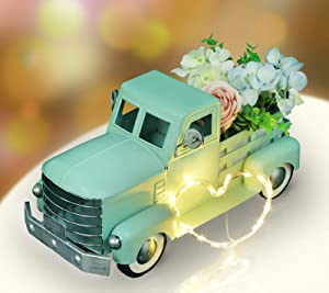 Pylemon Farmhouse Truck Spring Decorations, Vintage Metal Truck with Flowers & String Lights Decorations, Easter Truck Decoration, Decorative Truck Dining Table Centerpiece (Turquoise)