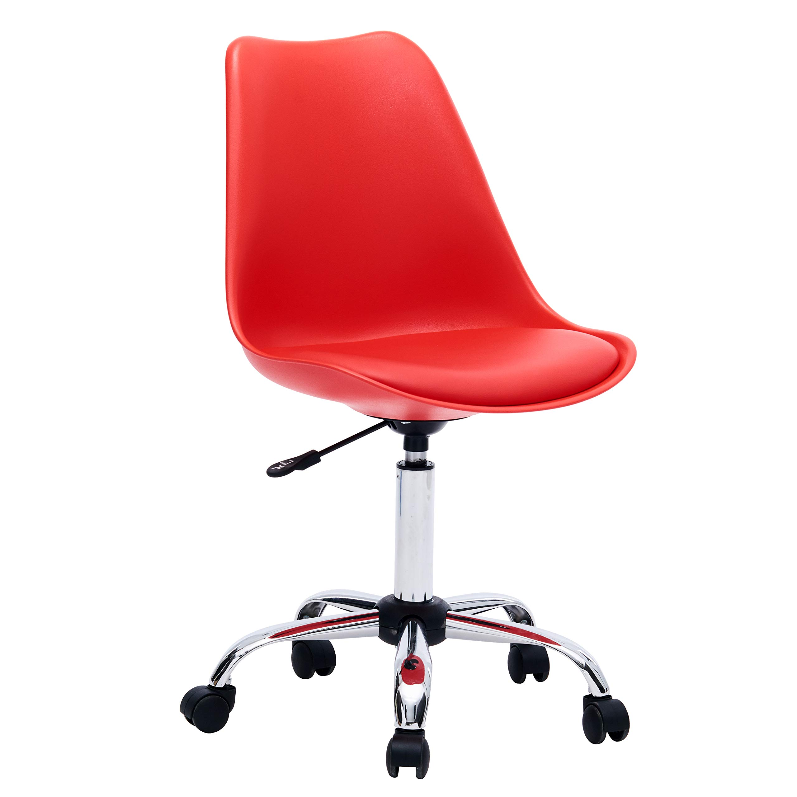 Porthos Home LVC008A RED Adjustable Height Cushioned Seat Office Desk Chair with Chrome Base and Caster Wheels, Easy Assembly, One Size