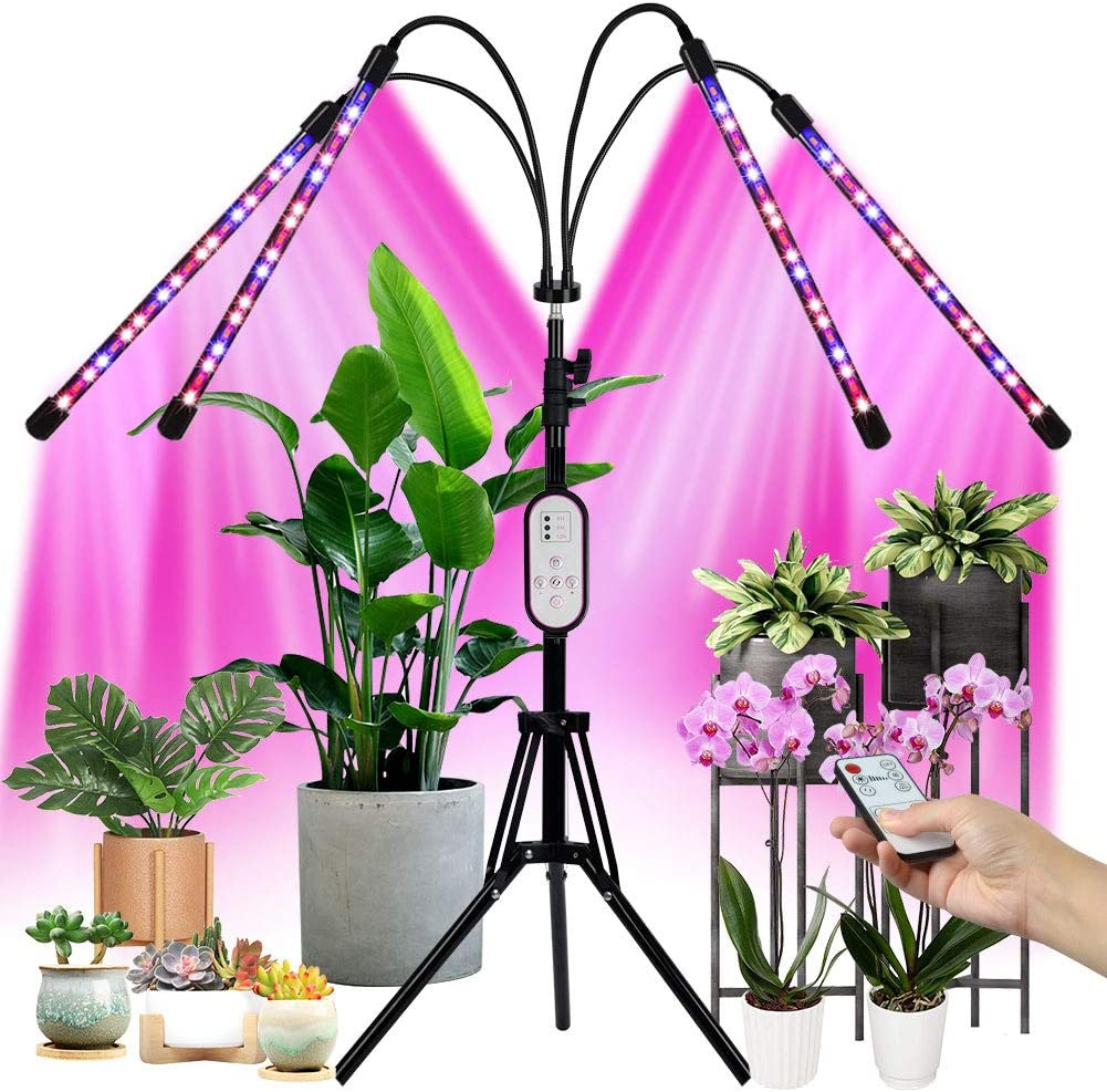 GARDTECH Grow Light with Stand (Adjustable 14-60inches) for Indoor Plant, 80W 4 Heads LED Growing Lamp with Remote Controll, Full Spectrum 3 Modes 9 Dimmable Level, 4/8/12H Timming - 2020 New