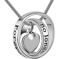 No longer by my side,forever in my heart carved locket cremation Urn necklace for mom & dad