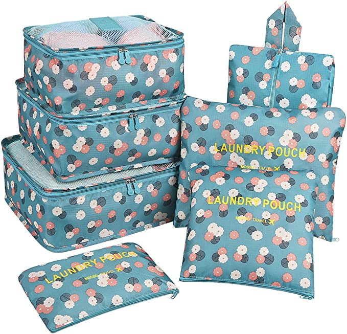 Travel Organizer,Mossio Durable Compression 3 Packing Cubes 3 Laundry Bag 1 Shoe Bag Blue Flower best packing cubes