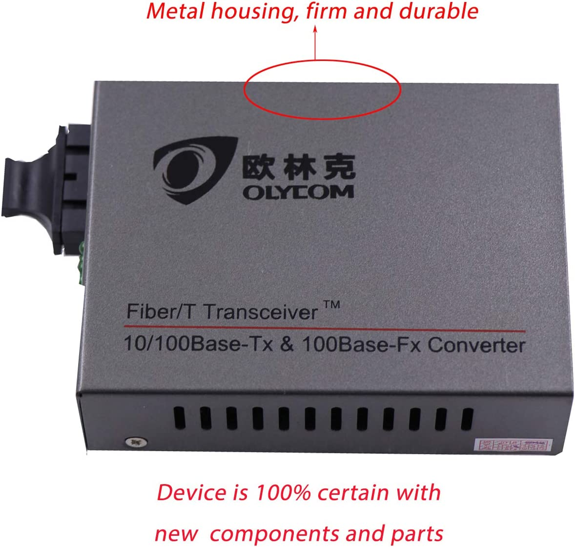 Fast Ethernet CAT5 Converter Singlemode Dual Fiber Optic to RJ45 Transceiver SC 60km