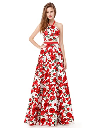 12b2be9be87 Ever-Pretty Womens Floor Length Sleeveless Floral Print Prom Dress 4 US  Floral Print