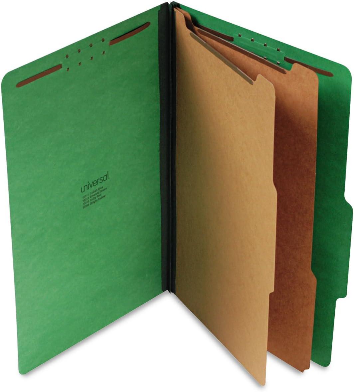 Universal 10312 Pressboard Classification Folders, Legal, Six-Section, Emerald Green, 10/Box