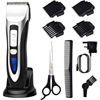 ELEHOT Hair Clipper Beard Trimmers with LCD Display Cordless Rechargeable and Ceramic Blade with Base for Men