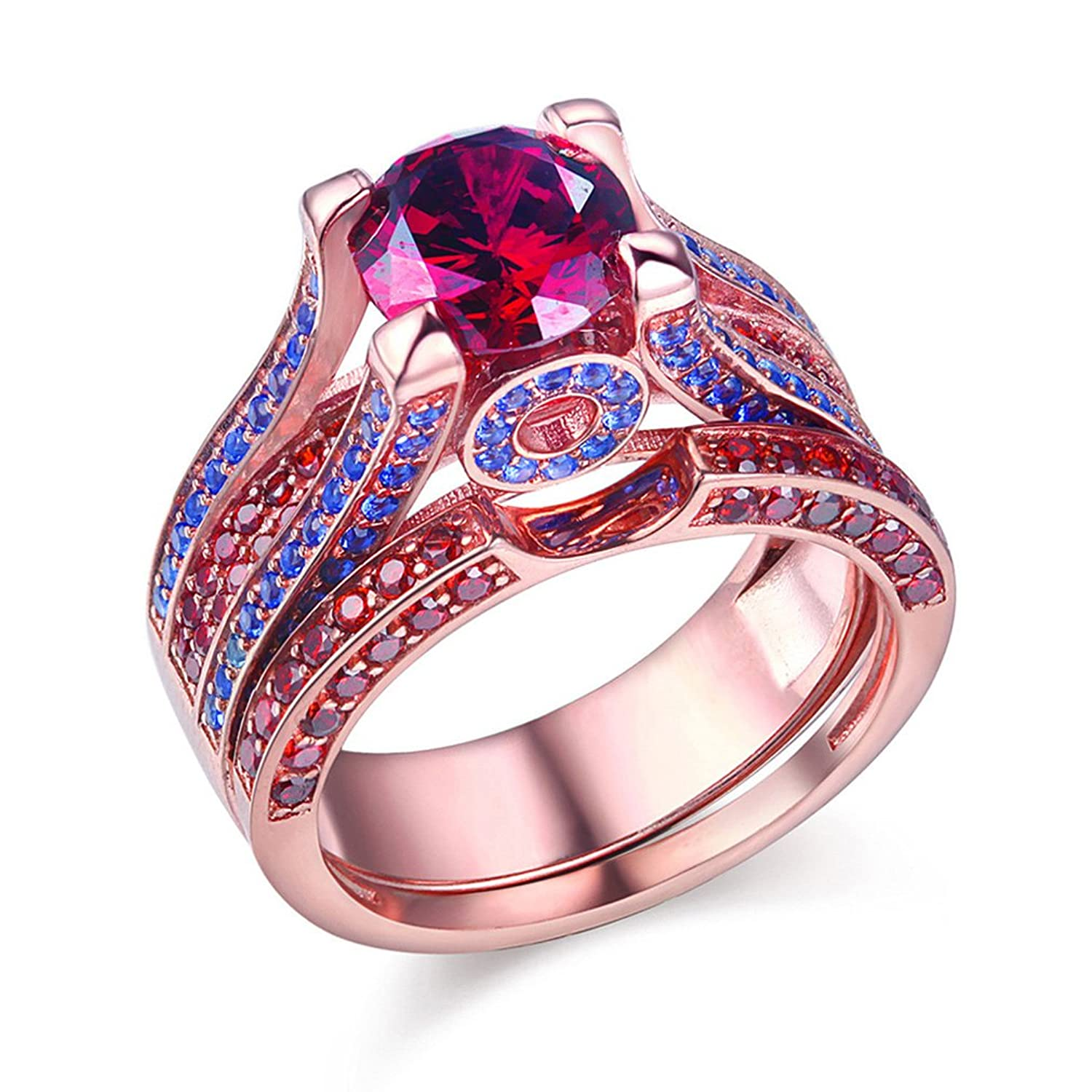 Amazon.com: Newshe Created Red Ruby Blue Sapphire 925 Sterling ...
