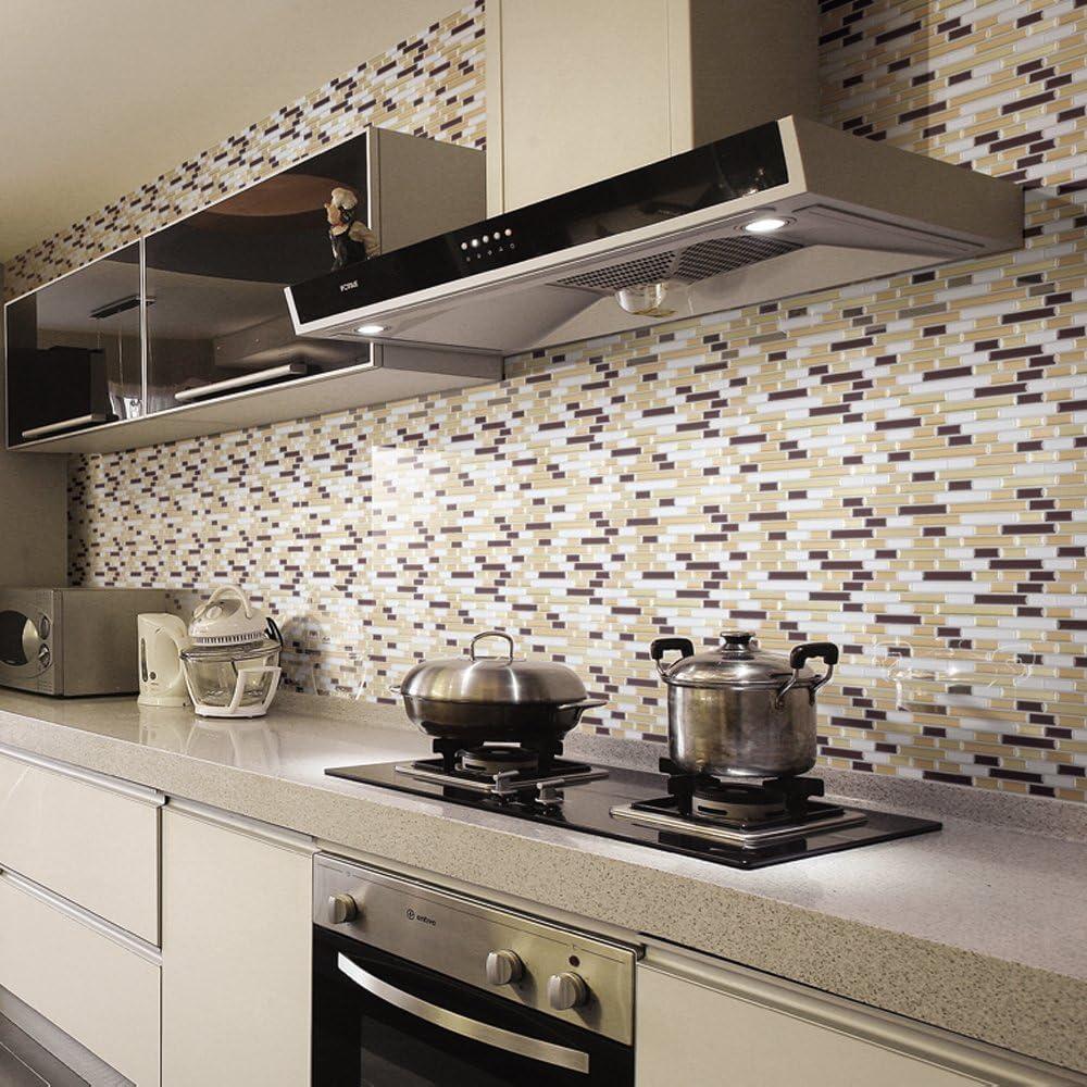 Ecoart Decorativos Adhesivos Para Azulejos Pegatina de pared,Azulejos de gel, diseño de tira, efecto 3d, autoadhesivo, Para cuarto de baño y cocina, 30cm *30cm, 6 piezas por paquete: Amazon.es: Bricolaje y herramientas