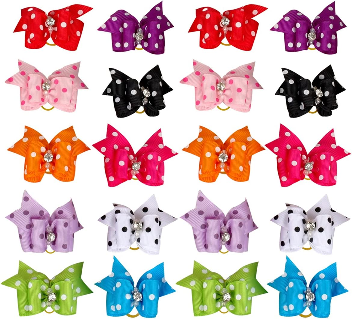 UEETEK 20pcs sch/öne Hundehaare B/ögen Zubeh/ör Katze Welpe Haarspangen mit Gummib/ändern PolkaDot