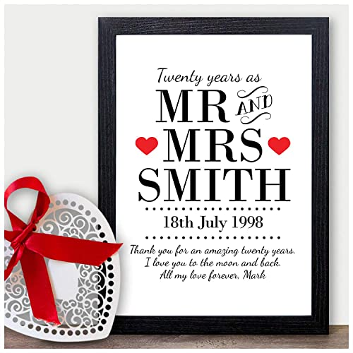 Personalised 20th Wedding Anniversary Gifts For Husband Wife 20