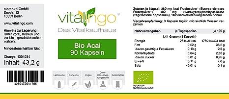 Bio Acai cápsulas de vitalingo - Bio Acai cápsulas - 90 Bio Acai ...