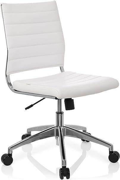 hjh OFFICE 720003 chaise de bureau, chaise bureau à roulettes TRISHA blanc en simili cuir, siège pivotant sans accoudoirs, structure robuste en métal