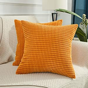 BEBEN Throw Pillow Covers - Set of 2 Pillow Covers 18x18, Decorative Euro Pillow Covers Corn Striped, Soft Corduroy Cushion Case, Home Decor for Couch, Bed, Sofa, Bedroom, Car (Orange, 18X18)