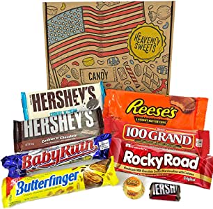 Heavenly Cesta de Dulces y Chocolate Americanos - Set de Marcas Clásicas de USA, Surtidos Originales, Regalo Perfecto para Niños, Adulto - Cumpleaños, Navidad - 9 Dulces, Pack de 25x18x2,5cm: Amazon.es: Alimentación