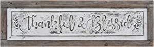 PrideCreation Thankful Blessed Wall Signs, 36x11 inch Wall Hanging Art Decor, Rustic Framed Inset Embossed Vintage Farmhouse Signs for Living Dining Room Bedroom Kitchen, Distressed Grey/White