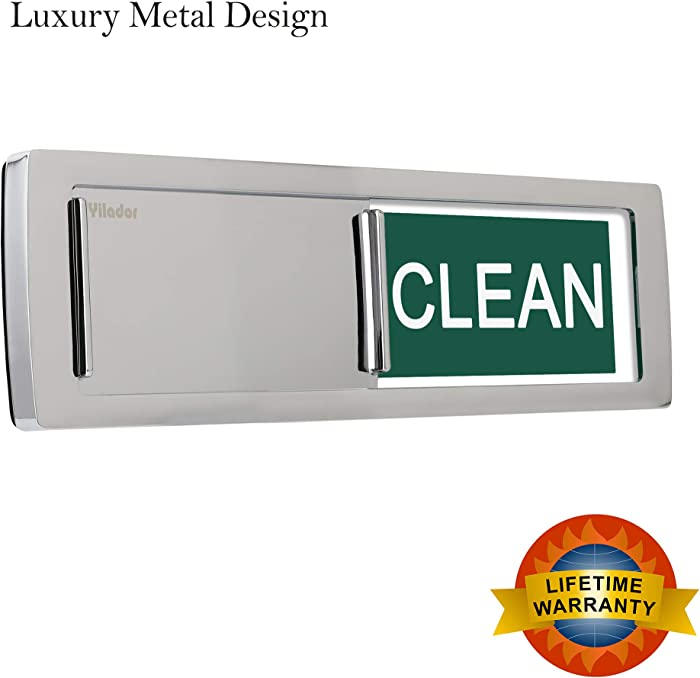2020 Premium Metal Design Clean Dirty Dishwasher Magnet Sign, Non-Scratchking Backing / 3M Sticky Tab Adhesion, Water Resistant Endurance Indicator Reminder Tells Dishes Clean or Dirty - Metal Silver