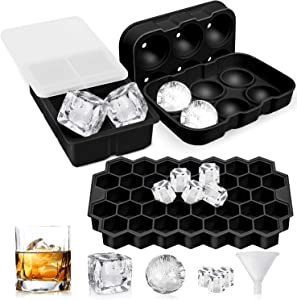 Newdora Ice Cube Trays, 3 Pack Silicone Ice Cube Tray with Lids, Sphere Square Honeycomb Ice Cube Mold, Flexible,Reusable, BPA Free Ice Trays for Whiske, DIY, Dishwasher Safe, Black
