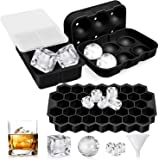 UOON Ice Cube Trays (Set of 3), Easy-Release Silicone and Flexible Ice Trays with Spill-Resistant Removable Lid, Ice…