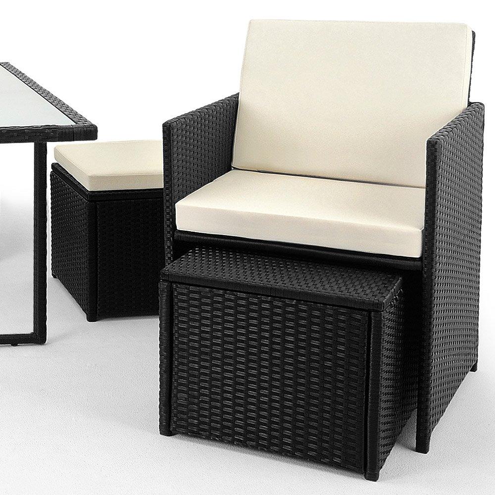 Deuba 991020 Poly Rattan Garden Furniture Set Cube Lounge Seat Group ...