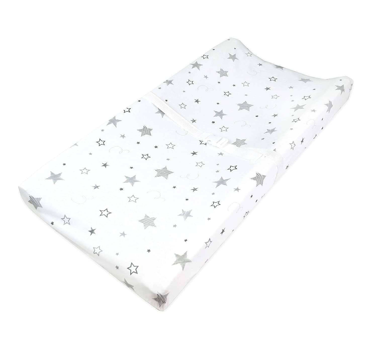 American Baby Company Printed 100% Natural Cotton Jersey Knit Fitted Contoured Changing Table Pad Cover, Super Stars, Soft Breathable, for Boys and Girls