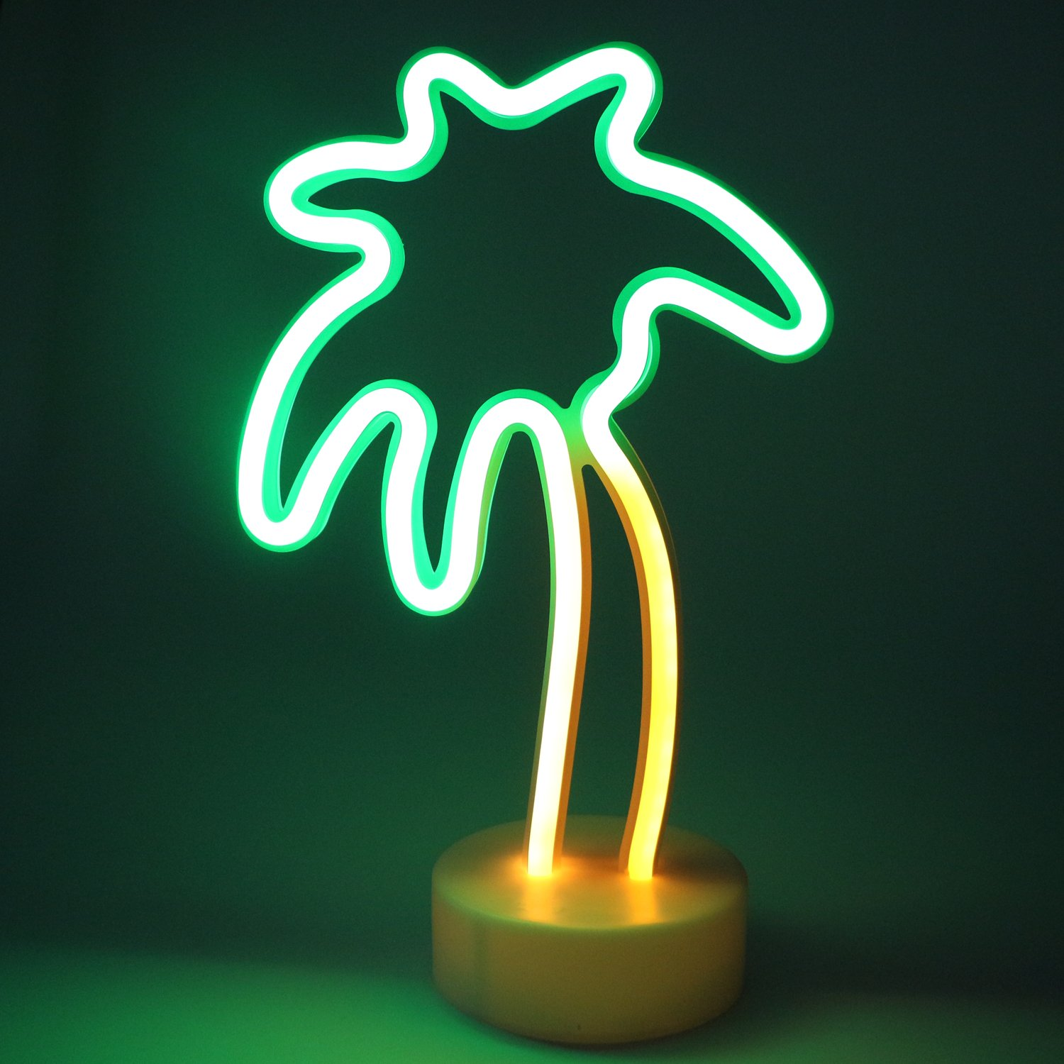 Coconut Tree LED Neon Light Signs - XIYUNTE Room Decor Neon Light Sign with Pedestal Night Lights Battery Operated Light up Sign Bedside Table Lamps Neon Signs for Home Decoration