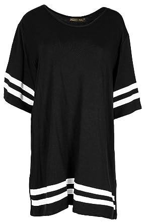 Chocolate Pickle® Neue Damen Plain gestreifte Baseball Sackartiges-T-Shirts,  Black,