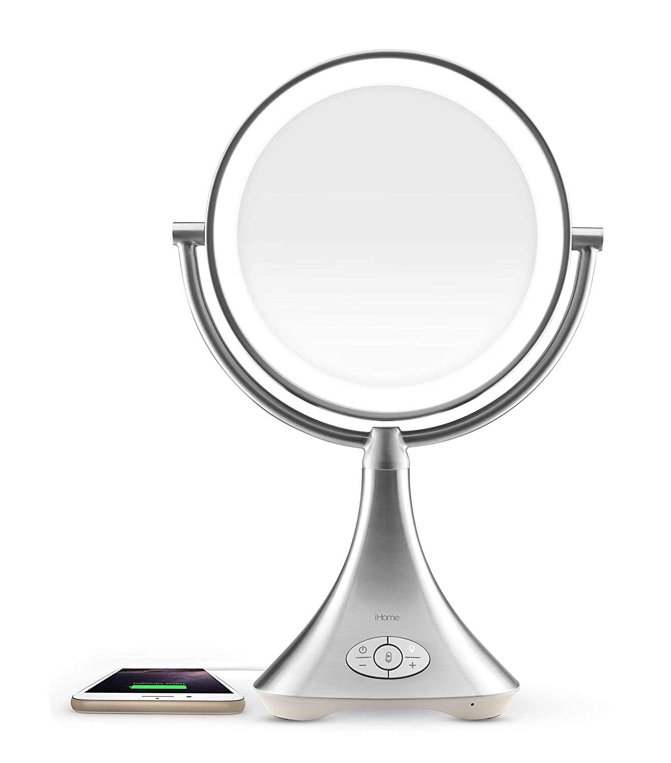 """iHome All-in-One, 7X Magnify, 9"""" 2-Sided LED Makeup Mirror, Natural Light, Double-Sided Vanity Mirror, Hands-Free Bluetooth Speakerphone, Bluetooth Audio & Phone Charger iCVBT8"""