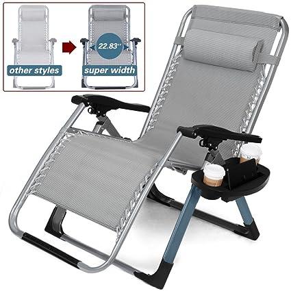 Artist Hand  350LBS Capacity Zero Gravity Heavy Duty Outdoor Folding Lounge  Chairs W/Snack