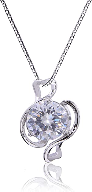 Mycitta CZ Pendant Necklace for Girls - Pisces Gift 14k White Gold Plated Sterling Silver Cubic Zirconia Crystal Small Elegant Good Luck Necklace Charm for Women Febuary and March Birthday Gift Idea