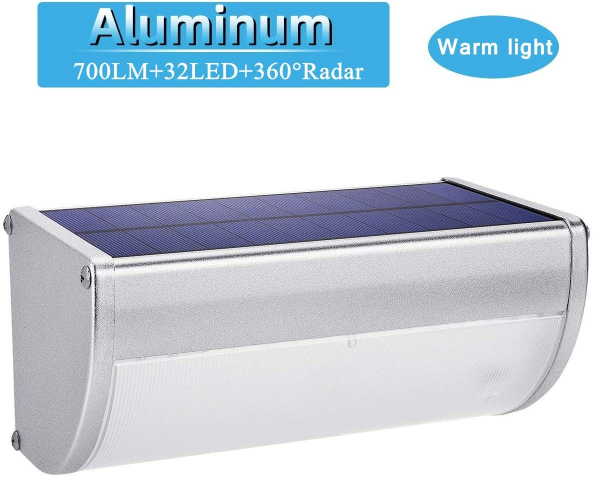 32 LED Solar Lights Aluminum Alloy Housing IP65 Waterproof 700lm Outdoor Solar Lights 360 Radar Motion Sensor Security Wall Lights for Step, Garden, Yard, Fence, Deck-Warm Light