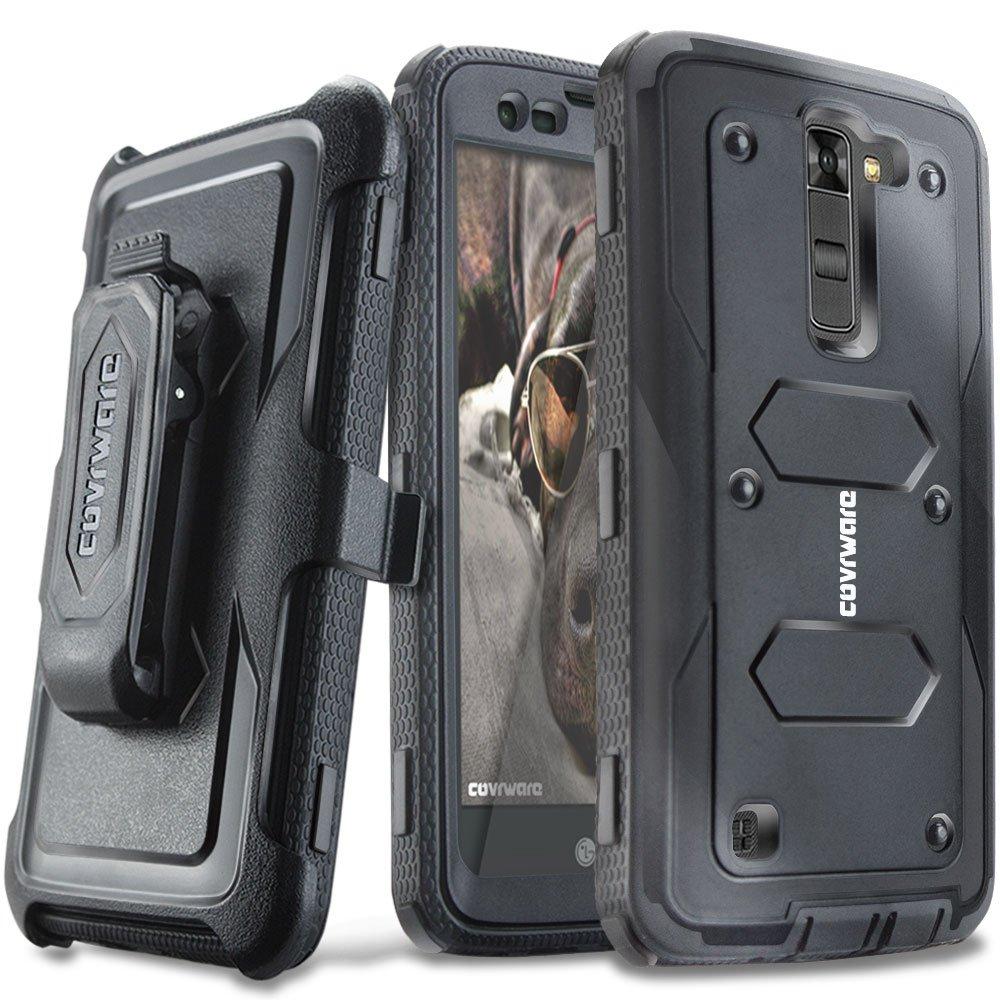 COVRWARE LG K7 / Tribute 5 / Escape 3 / Treasure/Phoenix 2 [Aegis Series] Heavy Duty Dual-Layer Full-Body w/Built-in [Screen Protector] Rugged Holster Armor Case & [Belt Clip][Kickstand], Black