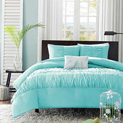 BEAUTIFUL MODERN COZY AQUA BLUE CHEVRON RUFFLE GIRLS SOFT COMFORTER SET /& SHEETS