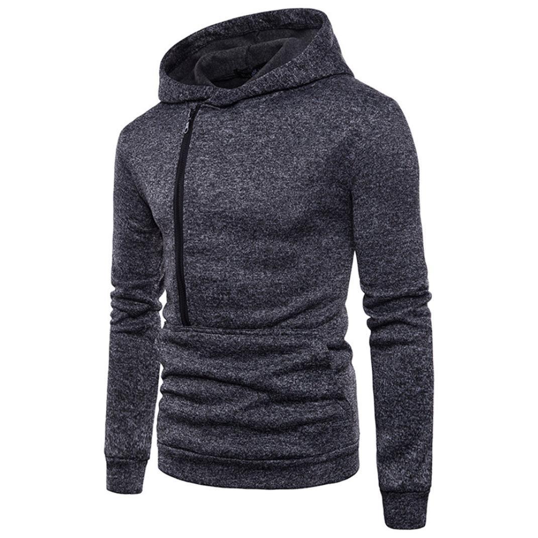 vermers Hot Sale Men's Casual Long Sleeve Zipper Hoodie Sweatshirt - Mens Fashion Personality Hooded Outwear Tops(2XL, Black)