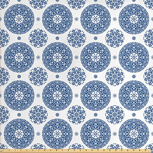 Ambesonne Home Decor Fabric by The Yard, Vintage French Country Style Floral Circular Pattern Lace Ornamental Snowflake Design Print, Decorative Fabric for Upholstery and Home Accents, Blue White