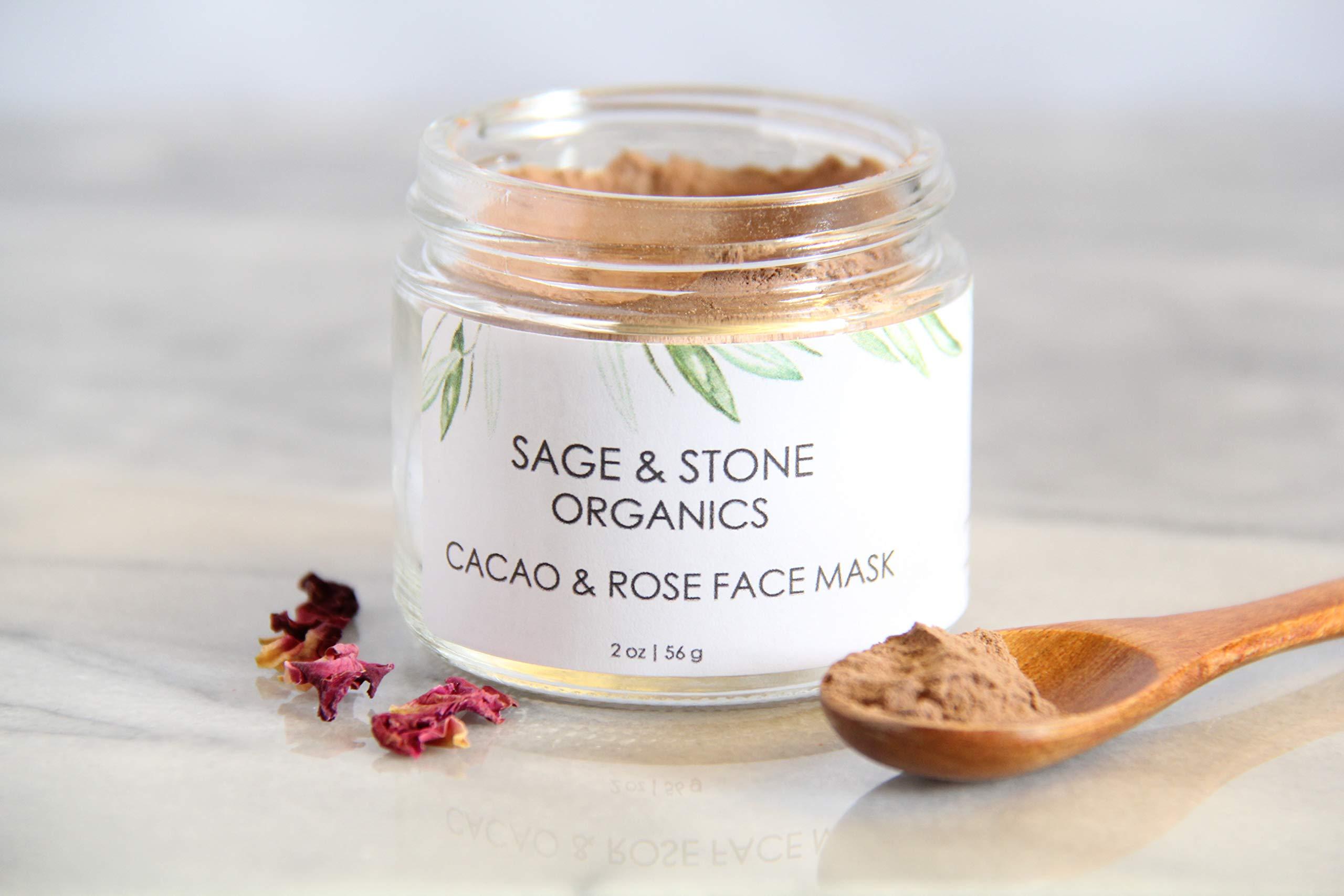 Cacao & Rose Face Mask, Organic Face Mask, All Natural Face Mask, Cruelty Free Face Mask, Face Mask for Aging Skin, Anti Aging Face Mask, Antioxidant Face Mask, Organic Skin Care, 2 Ounces