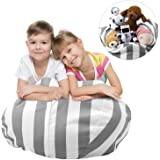 Stuffed Animal Bean Bag Storage - Sit n Stuff - Kids Soft Toys Sack and Children Pouf Chair, Premium Cotton Canvas Bedroom Organizer Box - best Storage Solution for Plush Toys, Towels, Clothes (68cm (27inches), Gray-White Striped)