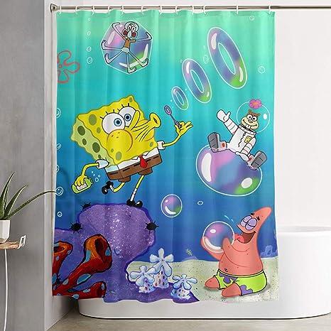 Liuyan Shower Curtain With Hook Spongebob Squarepants Waterproof Polyester Fabric Bathroom Decor 60 X 72 Inches