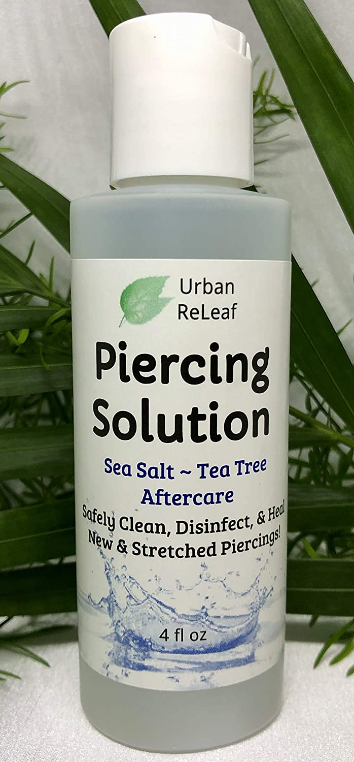 Amazon Com Urban Releaf Piercing Solution Healing Sea Salts Tea Tree Aftercare 4 Oz Ready To Use Safely Clean Disinfect Heal New Stretched Piercings Gentle Effective Natural Soothing