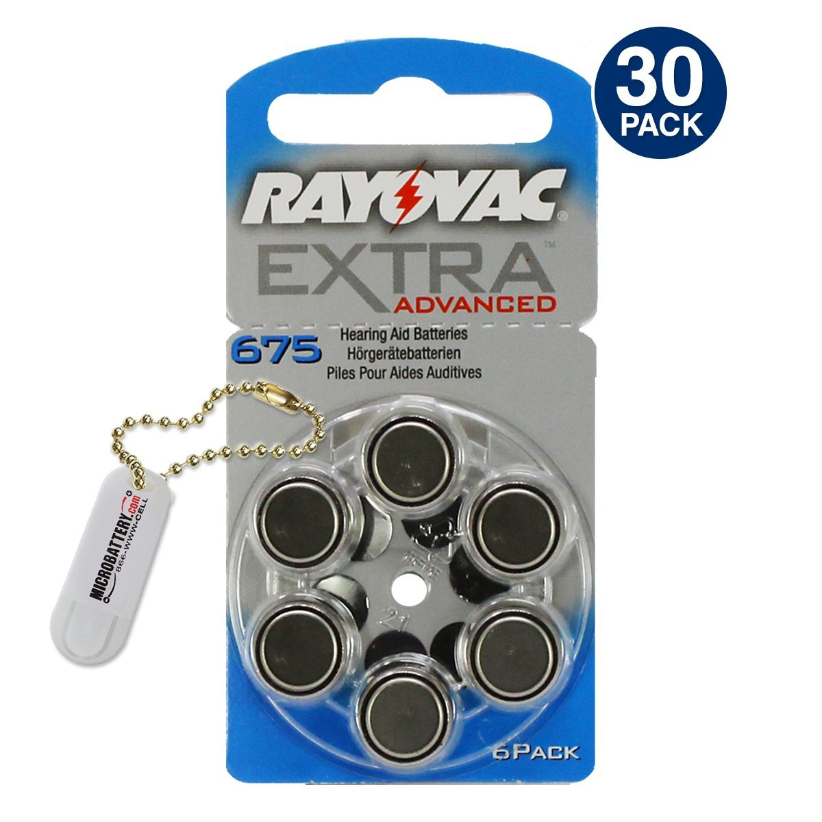 Rayovac Extra Advanced Hearing Aid Batteries Size 675 (5 Packs) (30 Batteries) + Keychain