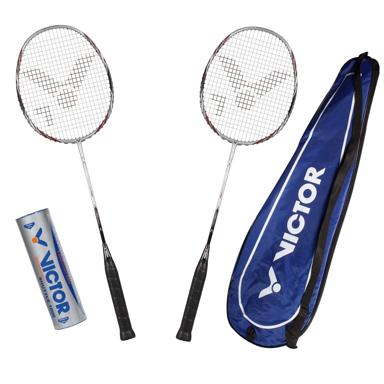 VICTOR Badminton Set, 2x Atomos 700 / Racketbag / 3x Nylonball, Silber/Bronze, 099/0/7
