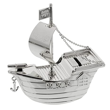 Christening Gifts. Silverplated Pirate Ship Money Box: Amazon.co.uk: Baby