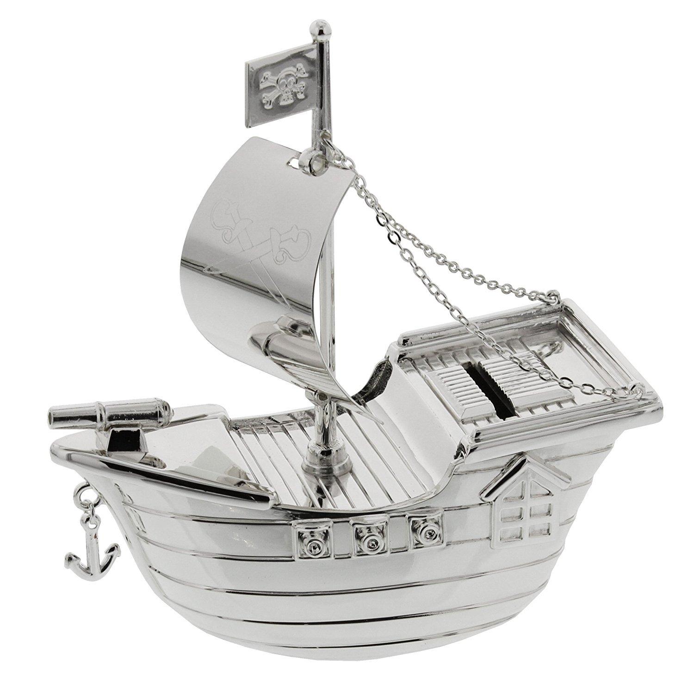 The Emporium Christening Gifts - Cadeaux de Baptême - Tirelire en Métal Argnté - Bateau de Pirate - 13 x 13cm [produit bébé] product image