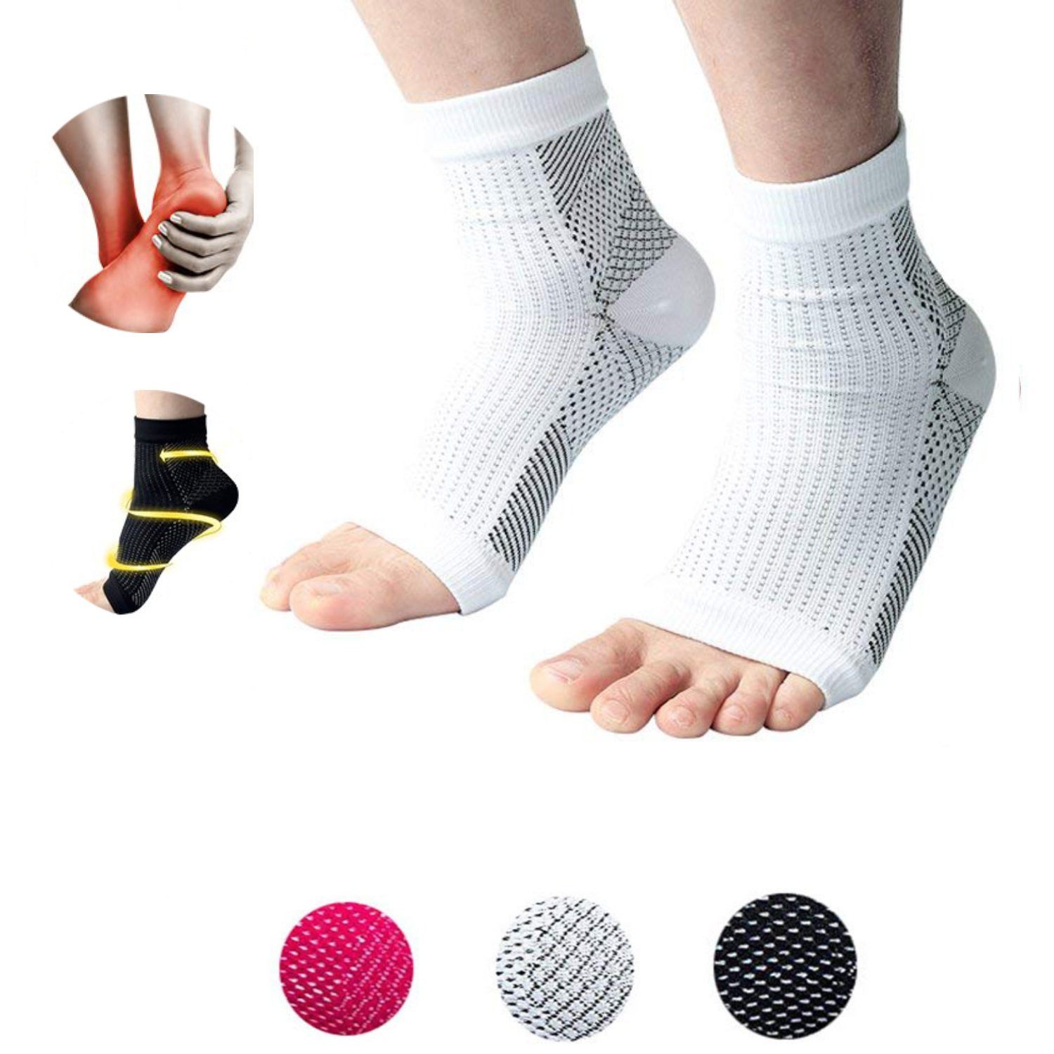 Plantar Fasciitis Socks, 2 Pairs of Male Female Compression Foot Covers, Ankle Support or Plantar Support, Quickly Relieve Pain, Relieve Swelling, and Heel All-Weather Treatment. (White, L/XL)