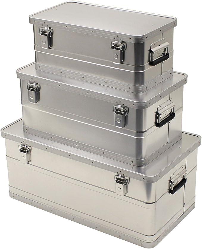 Cajas de Transporte, aluminio, juego de 3, 34 L, 55 L, 100 L, impermeable: Amazon.es: Bricolaje y herramientas