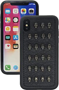 Chanroy Compatible with iPhone Xs/X(5.8 inch) Punk Leather Rock Style Cool Case Cover for Men and Women(Studded Skull)