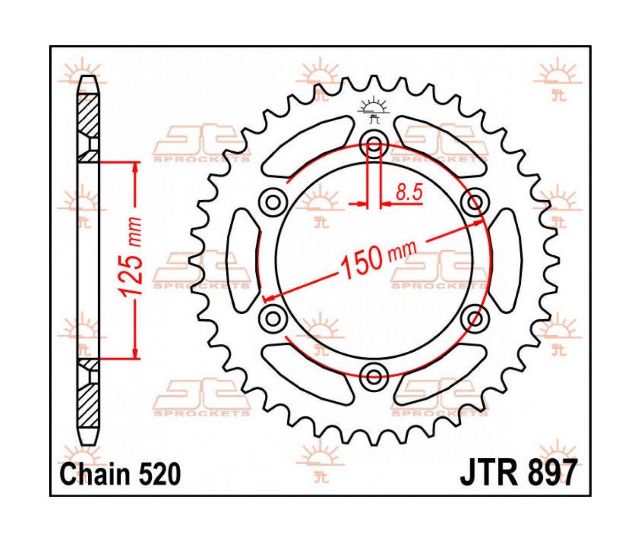 COURONNE ACIER 42 DENTS JTR897-42 KTM SX SXF MX EXC EXCF