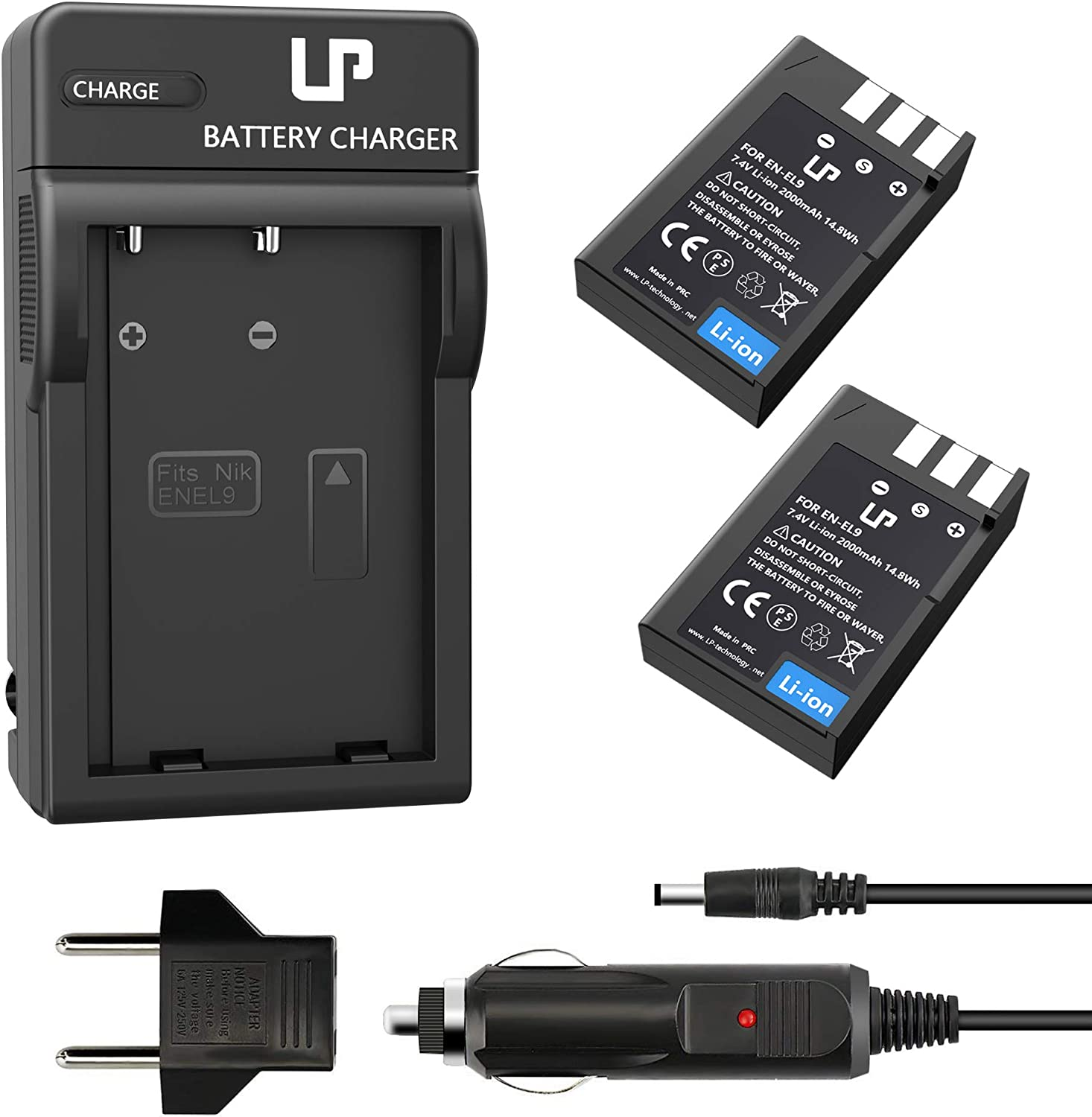 EN-EL9 EN EL9a Battery Charger Pack, LP 2-Pack Battery & Charger, Compatible with Nikon D40, D40X, D60, D3000, D5000 Cameras, Replacement for MH-23